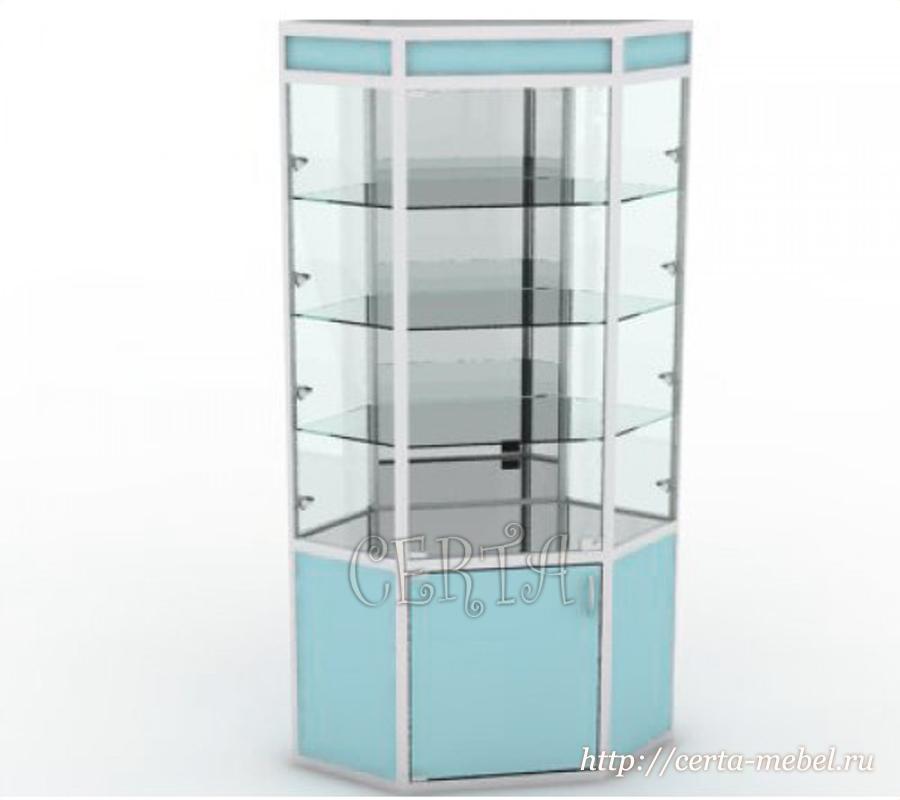 витрина угловая с зеркалом на заказ