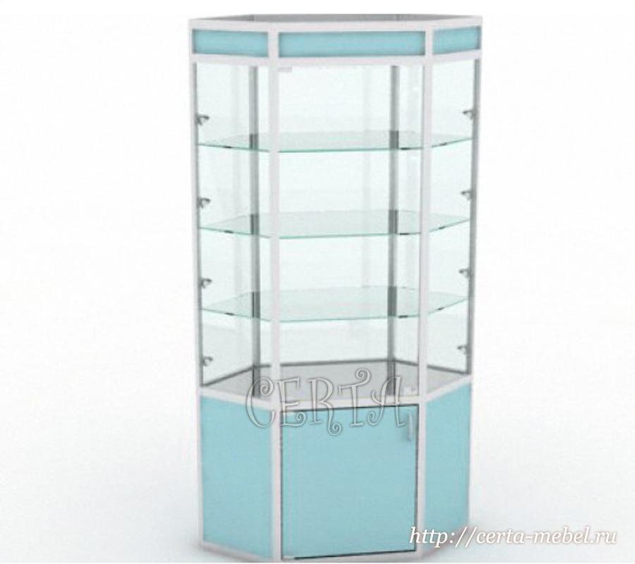 "витрина угловая ""Еврошоп"" со стеклом"
